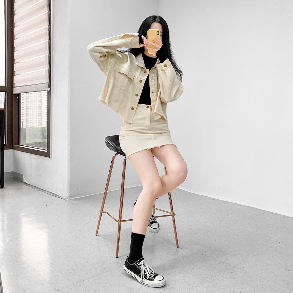 [무료배송]버터쿠키◈크롭면자켓 <br> 봄 면자켓 숏자켓 데일리 컷팅 빈티지