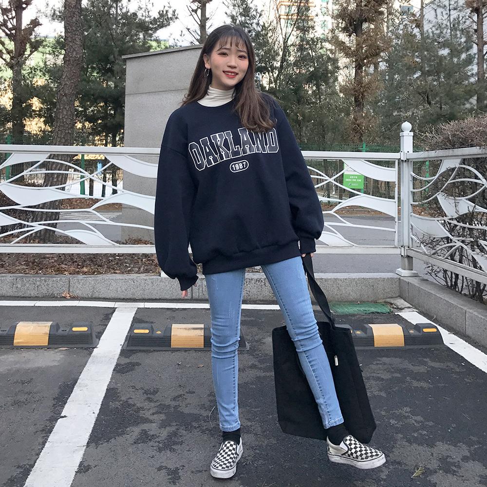 국내생산♥[무료배송](기모)오클랜드 벌룬맨투맨 <br> 국내생산 티셔츠 맨투맨 프린팅 오버핏