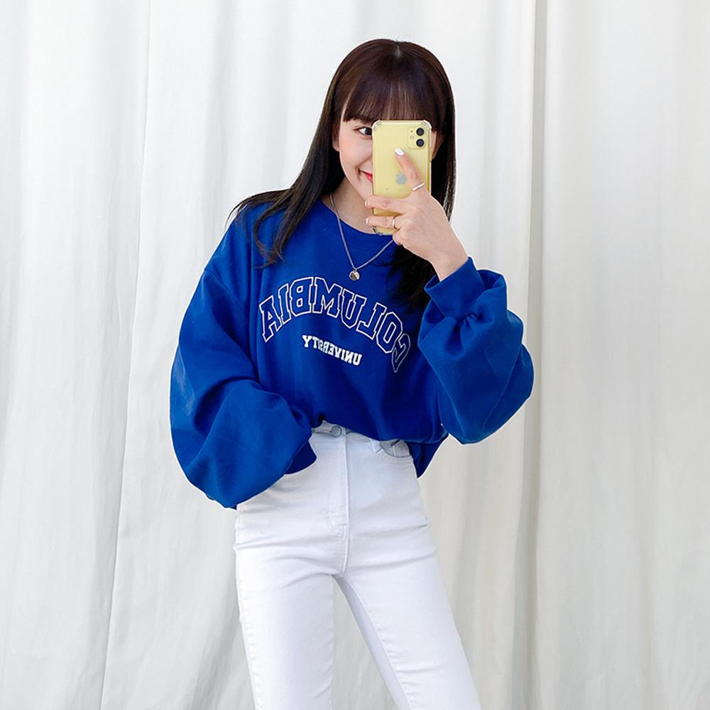 [무료배송][1+1할인](쭈리)클릭 벌룬긴팔티 <br> 벌룬맨투맨 티셔츠 오버핏 데일리 프린팅 봄
