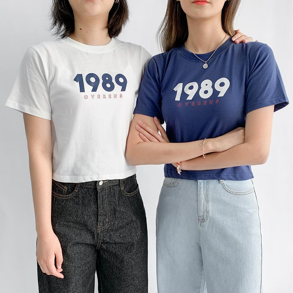 [무료배송]1989 크롭반팔티 <br> 프린팅 크롭 베이직 포멀핏