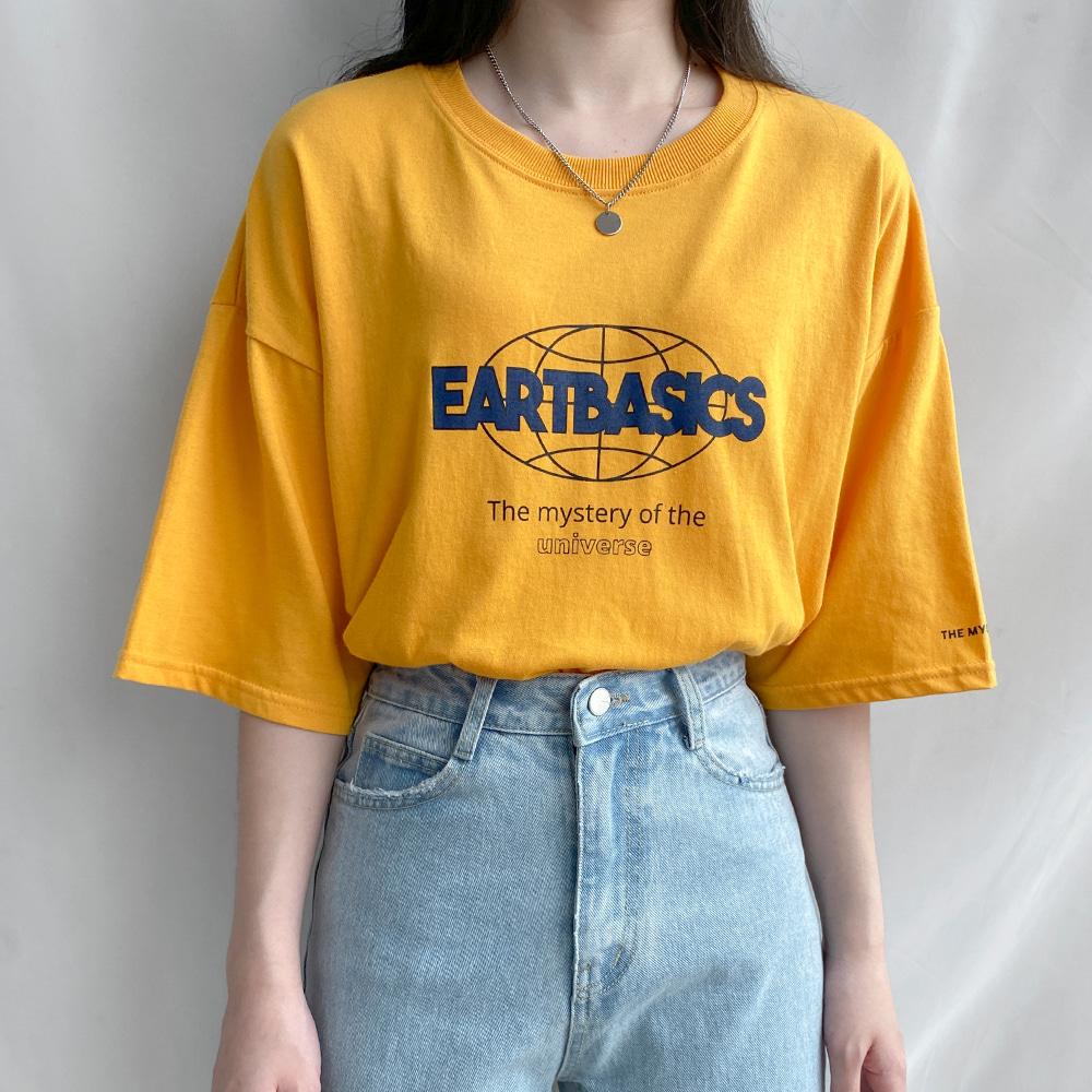 [무료배송]얼라운드 반팔티 <br> 티셔츠 반팔티 베이직 프린팅 박시핏