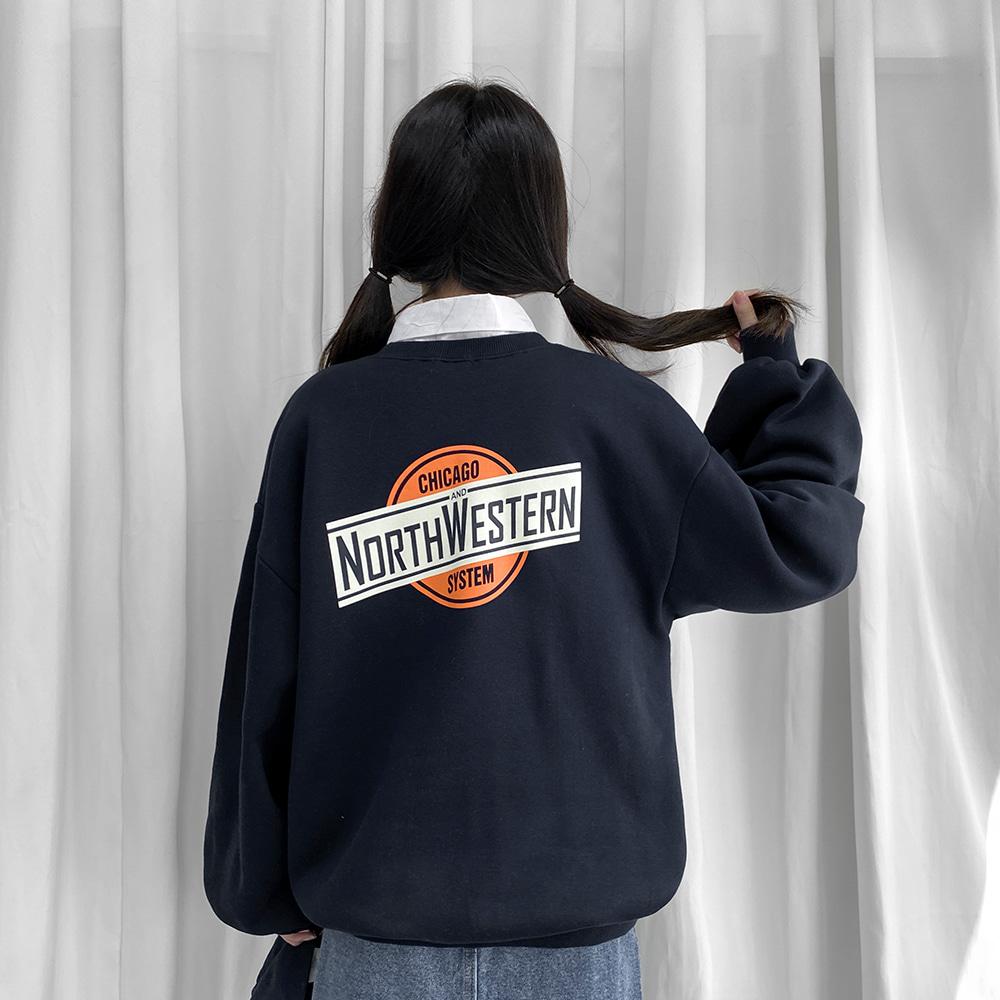 [무료배송](기모)시카고 벌룬맨투맨 <br> 프린팅 맨투맨 티셔츠 박시핏
