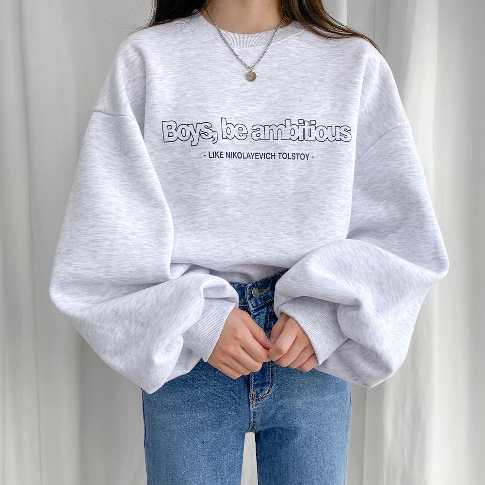 [무료배송](기모)보이즈 벌룬맨투맨 <br> 티셔츠 오버핏 맨투맨 레터링 벌룬핏