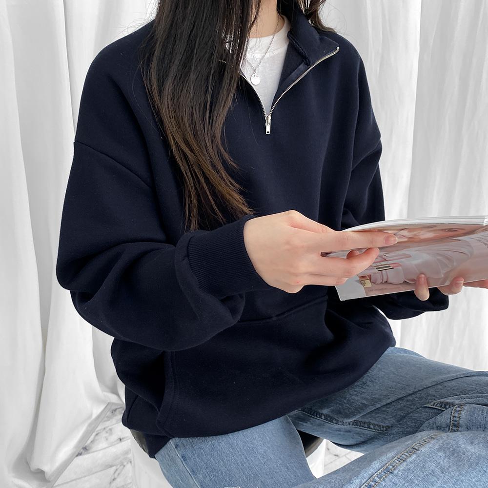 [무료배송](기모)원티드 반집업맨투맨 <br> 맨투맨 반집업 캐주얼 박스핏 베이직 기모