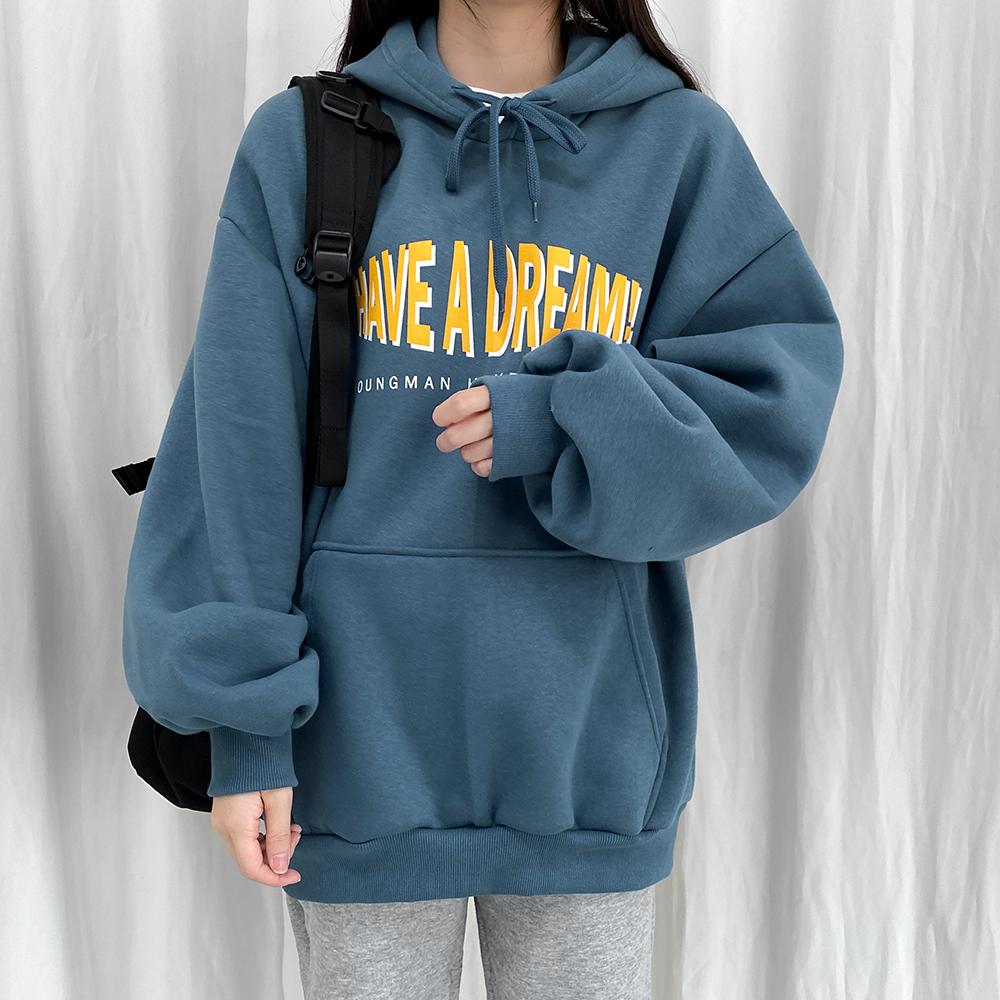 [무료배송](쭈리)해버드림 벌룬후드티 <br> 티셔츠 후드 맨투맨 레터링 박시핏 베이직