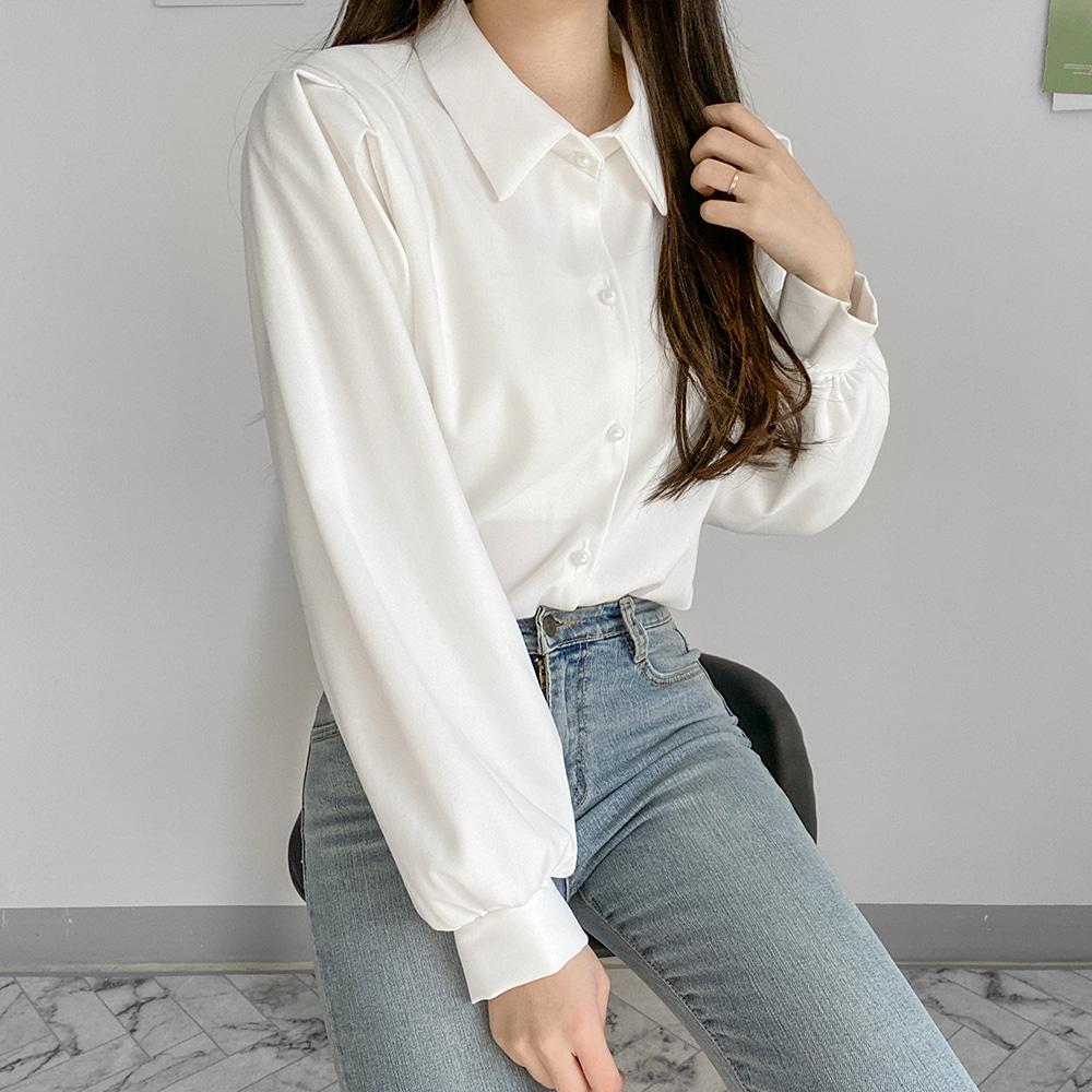 [무료배송]퓨어 퍼프블라우스 <br> 진주 벌룬블라우스 러블리 핀턱 셔츠