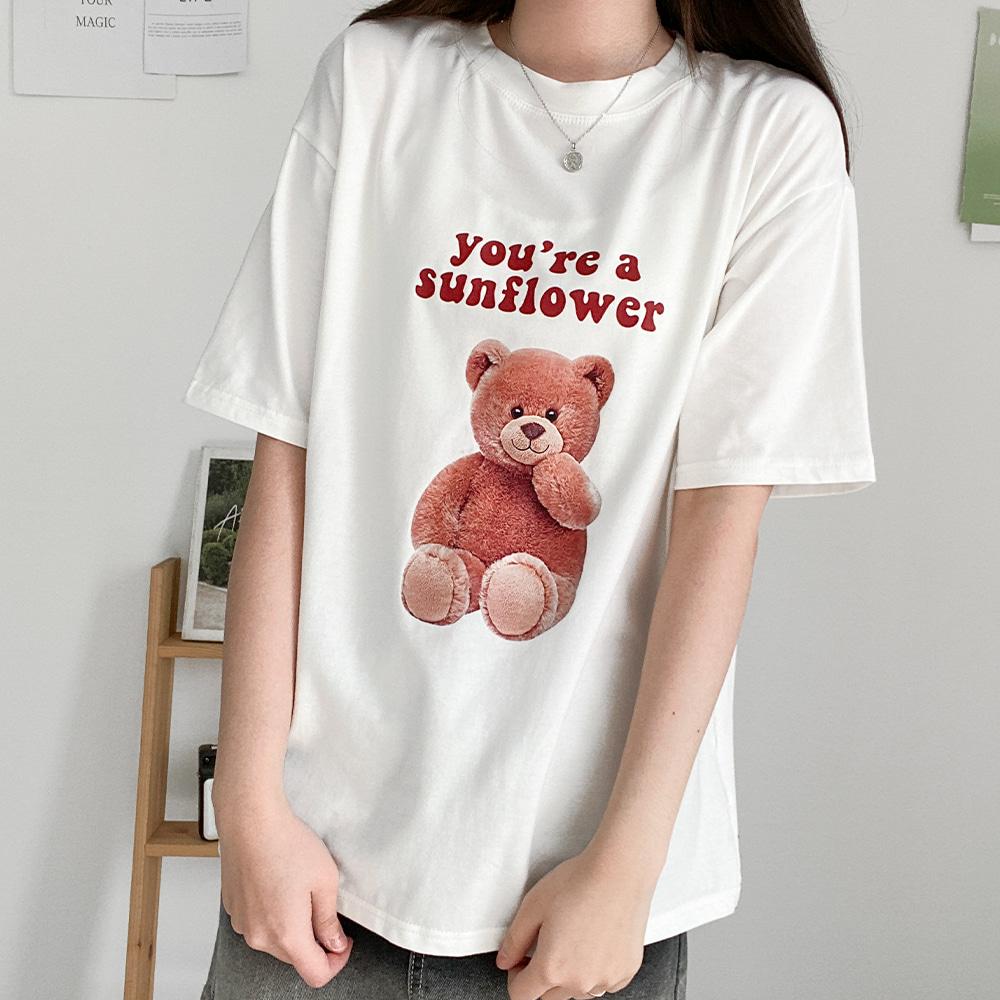 [무료배송]달콤베어 반팔티 <br> 반팔티 프린팅 캐릭터 티셔츠 곰돌이 박시핏