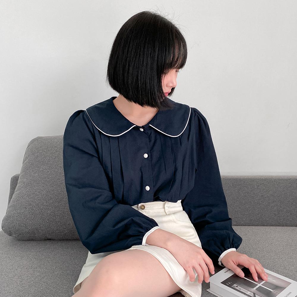 [무료배송]아로이 카라블라우스 <br> 핀턱 배색카라 벌룬블라우스 셔츠 데일리